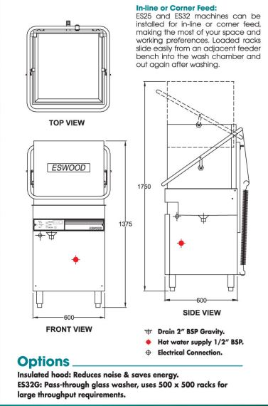 Eswood Es25 Pass Through Dishwasher │ Clem Tech